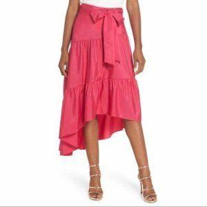 NEW Eliza J Tie Waist Hi-Lo Asymmetrical Skirt pin